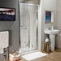 Jupiter 700mm x 800mm Polished Silver Bi-Fold Shower Enclosure Door